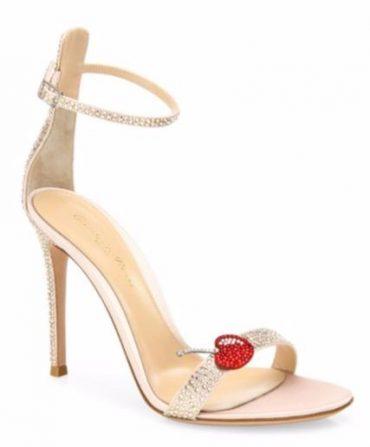 Gianvito Rossi Cherry Portofino Crystal Ankle-Strap Sandals