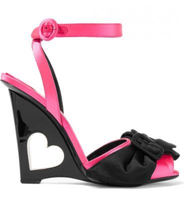 PRADA Bow-embellished satin wedge sandals