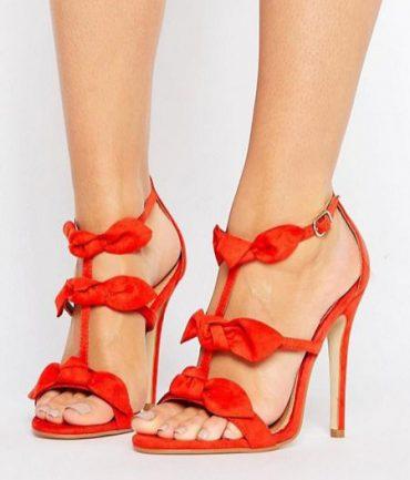 Public Desire red bow sandals