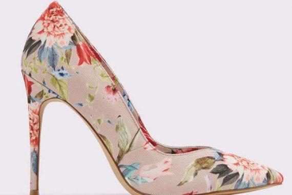 floral print court shoes