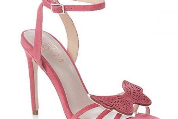 pink suede butterfly stilettos