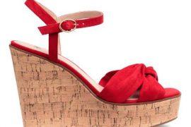 H&M red wedge heeled cork sandals