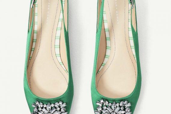 Zara green satin flat slingbacks