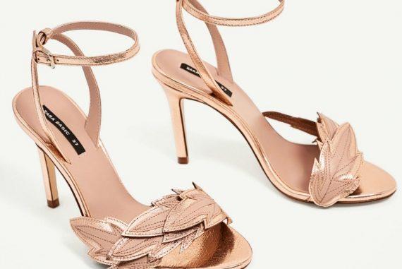 Zara high heel sandals with leaf detail