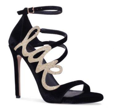 KG Kurt Geiger black and gold 'Hex' sandals