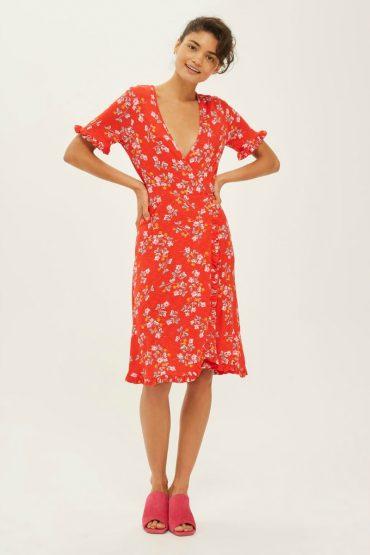 red floral tea dress