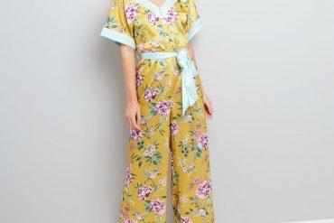 Yellow Sateen Floral Print Kimono Robe