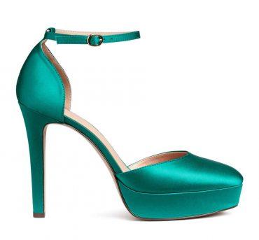 H&M green satin platform sandals